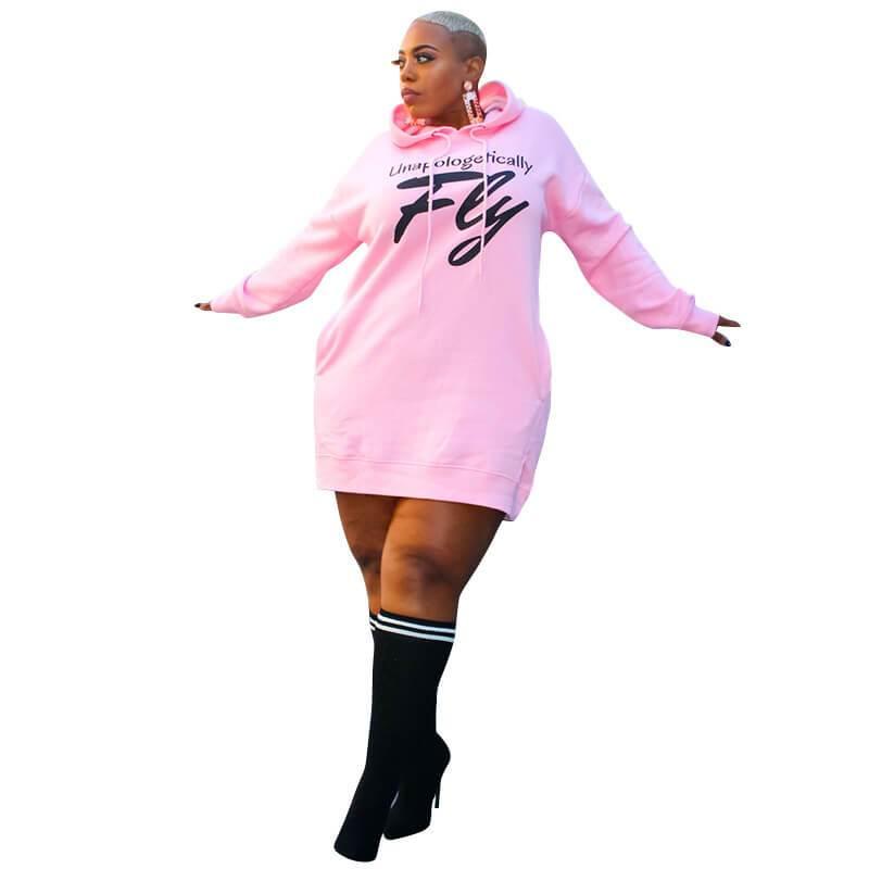 Large Letter Print Dress - pink color