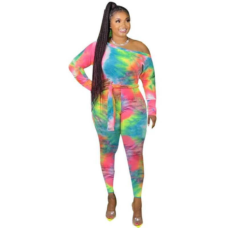 Plus Size Jumpsuit with Sleeves - blue yellow positive