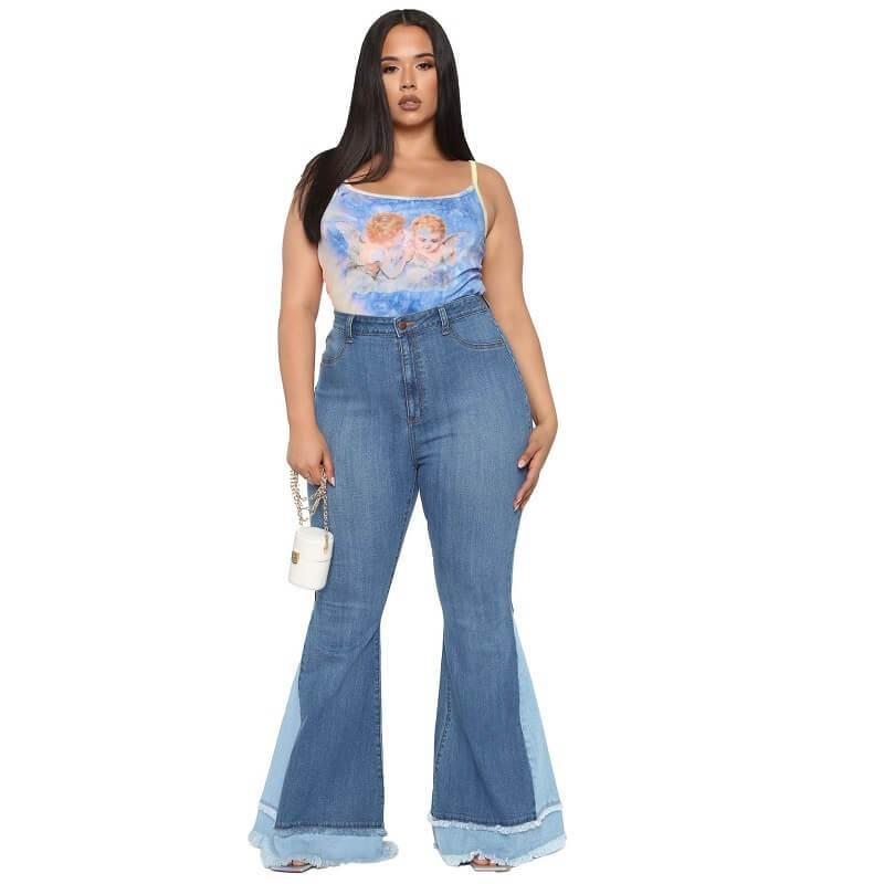 Stretch Flare Jeans Plus Size - dark blue color