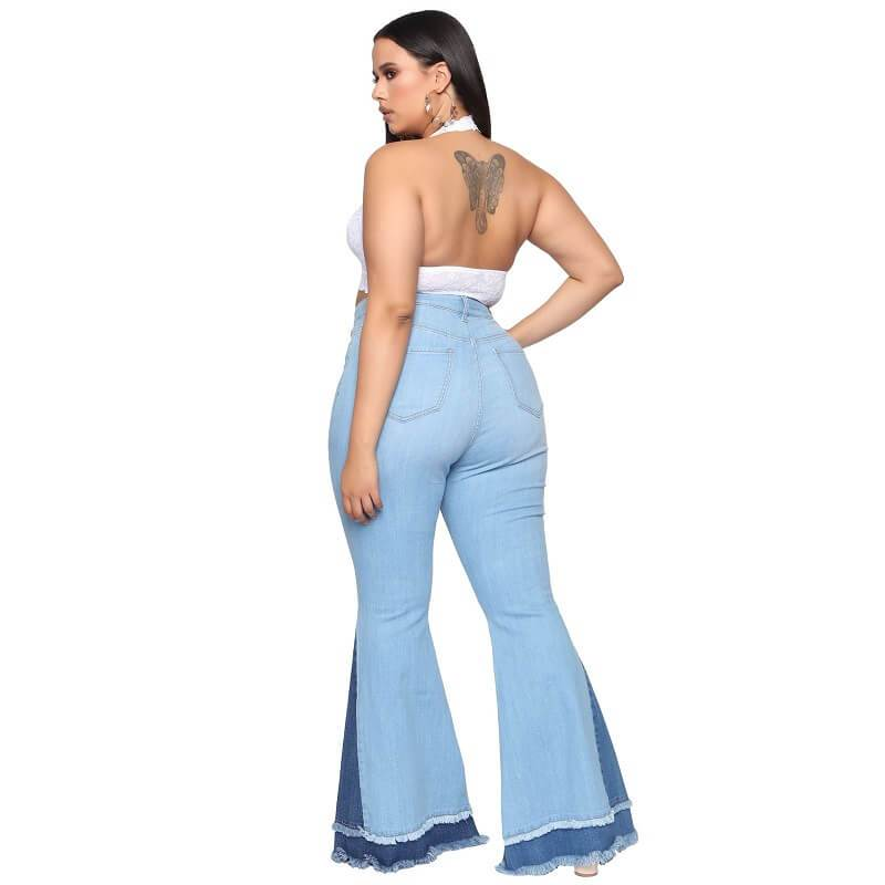 Stretch Flare Jeans Plus Size - light  blue back