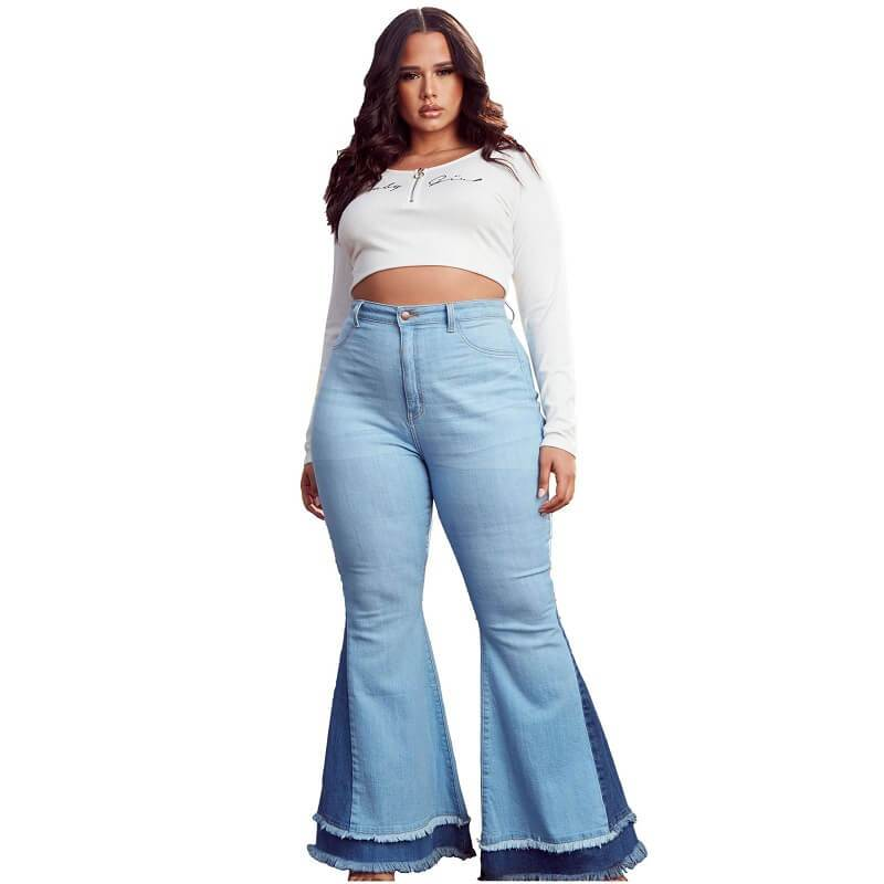Stretch Flare Jeans Plus Size - light  blue positive