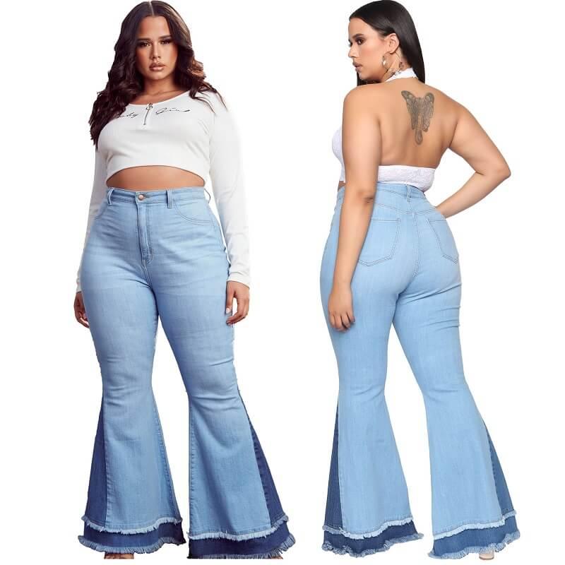 Stretch Flare Jeans Plus Size - light  blue color