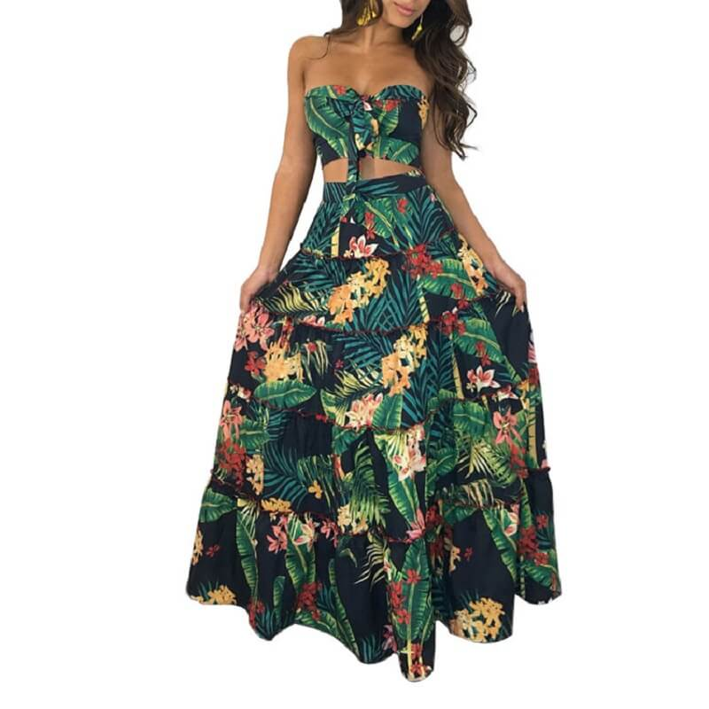 Large Size Green 2-piece Skirt - green color