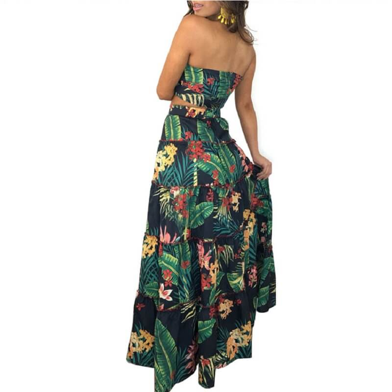 Large Size Green 2-piece Skirt - green side