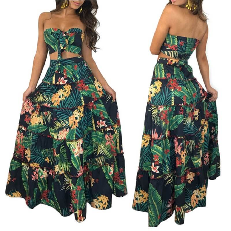 Large Size Green 2-piece Skirt - main picture