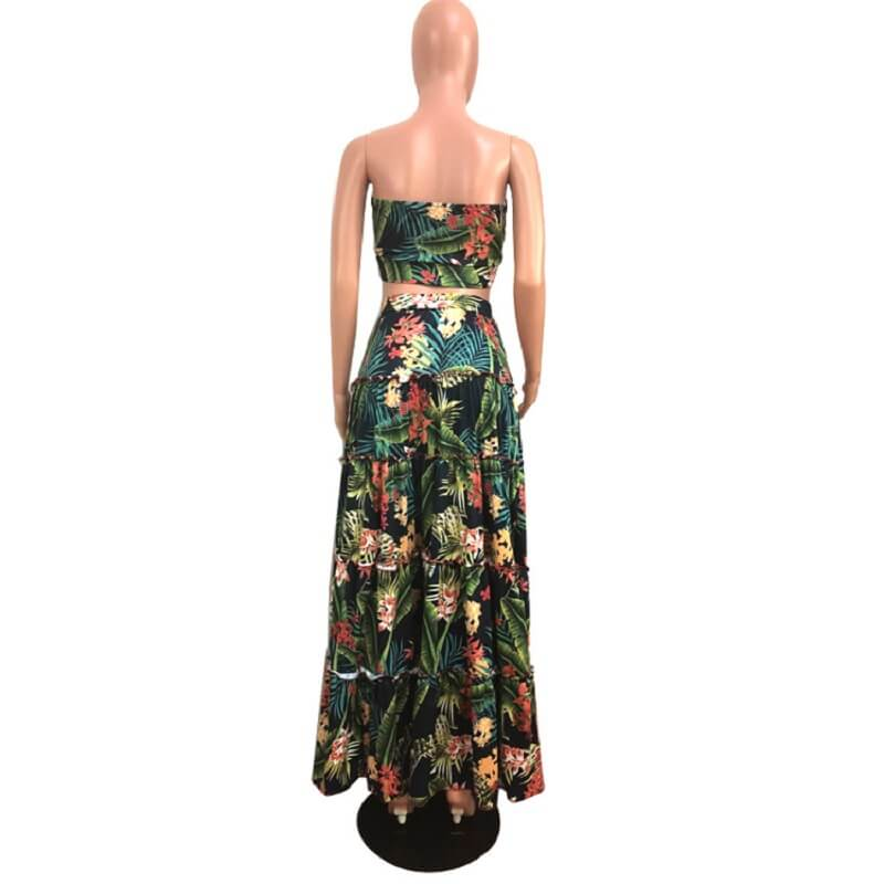 Large Size Green 2-piece Skirt - green back