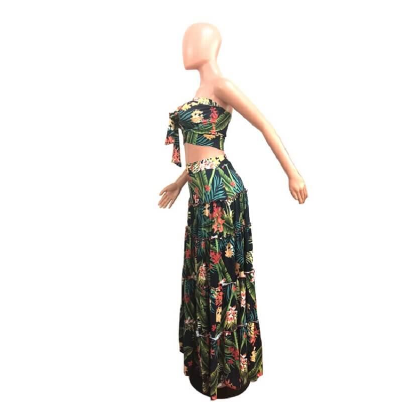 Large Size Green 2-piece Skirt - green left