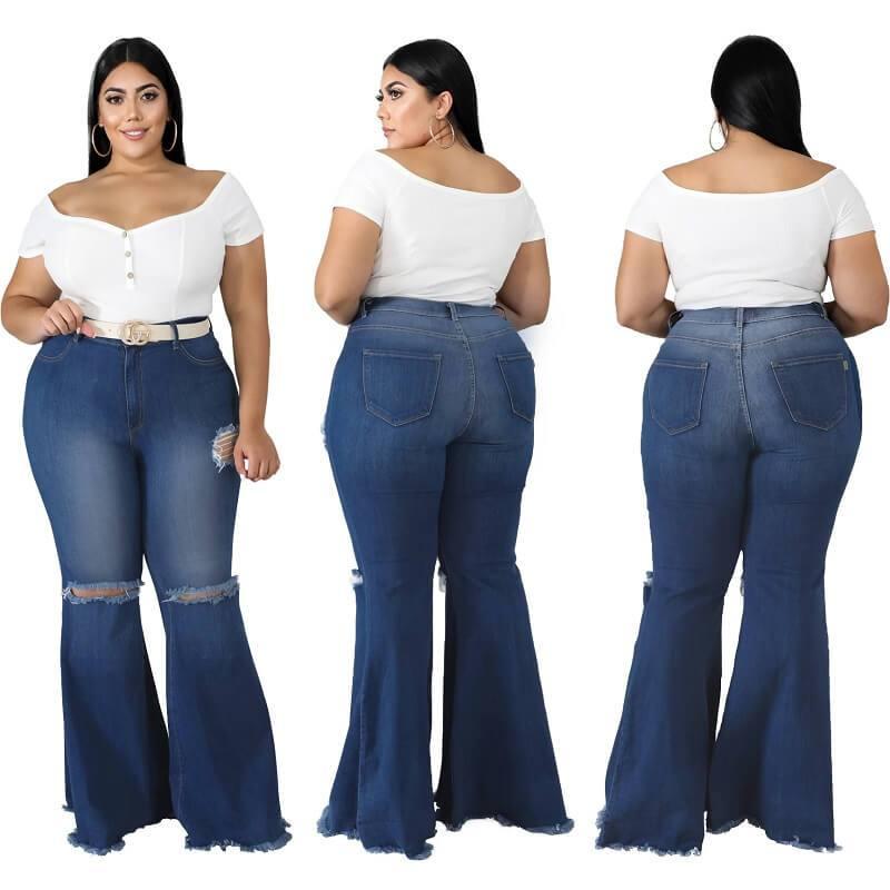 Frayed Hem Jeans Plus Size - main picture