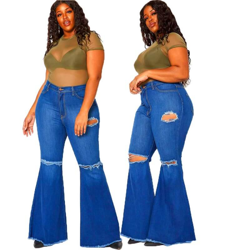 Frayed Hem Jeans Plus Size - color blue color
