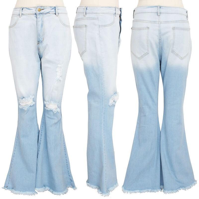 Frayed Hem Jeans Plus Size - light blue color