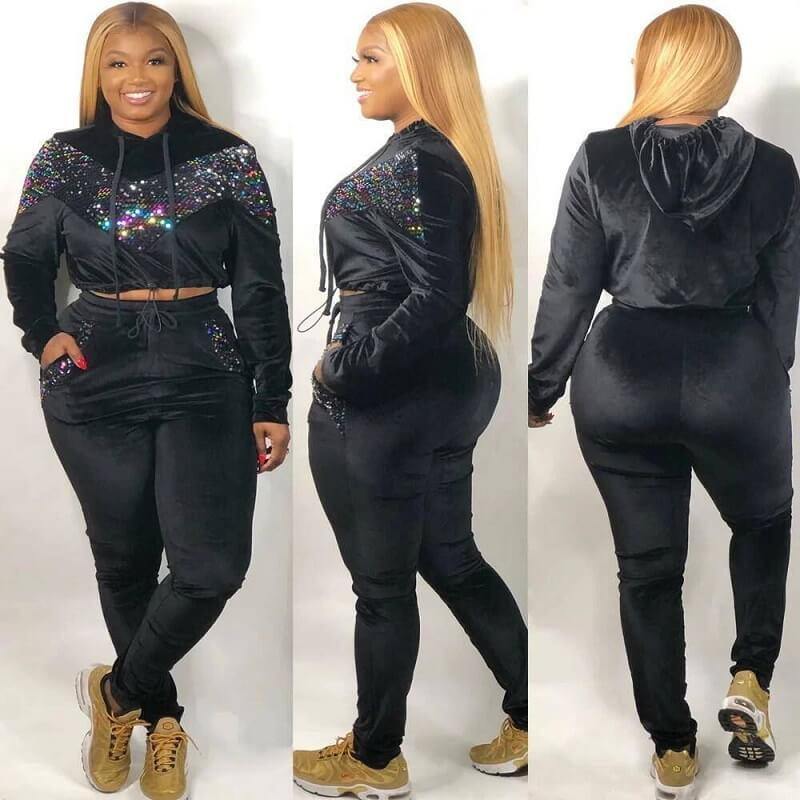 Plus Size Large Size Sports Suit - black color