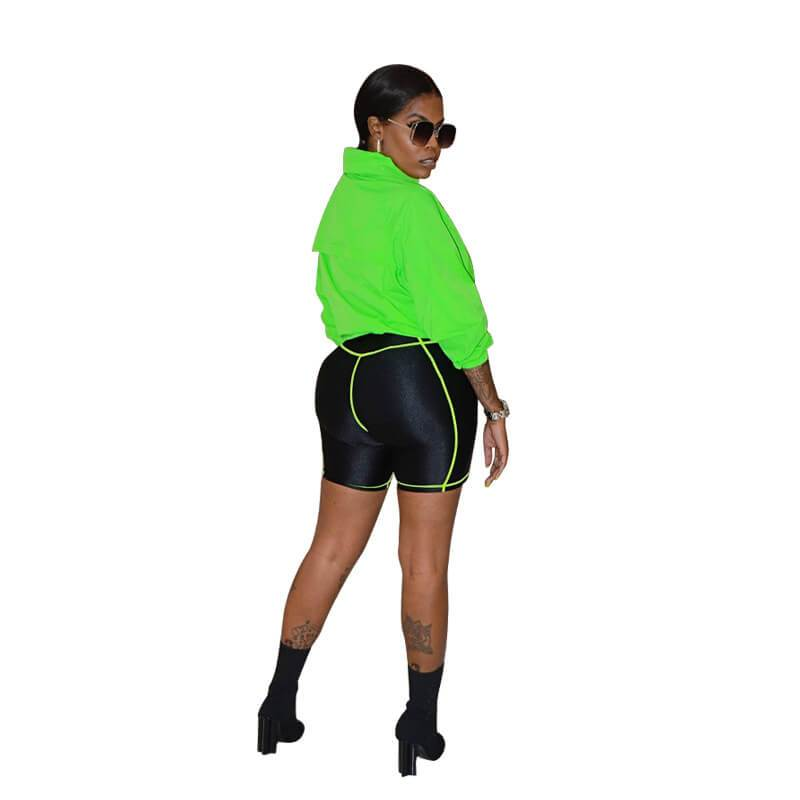 Large Size Stitching Contrast Short Suit - green side