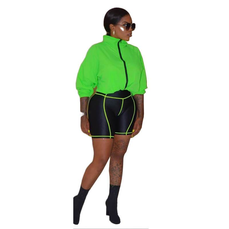 Large Size Stitching Contrast Short Suit - green color