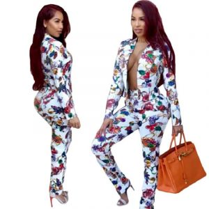 Large Size White Printed Two-piece Suit - main picture