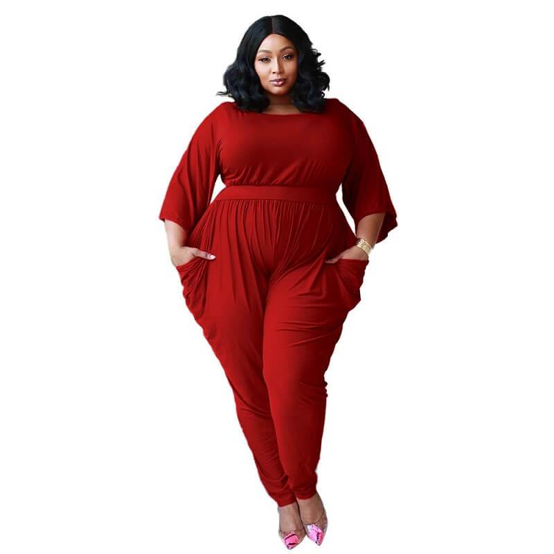 plus size red jumpsuit - red color