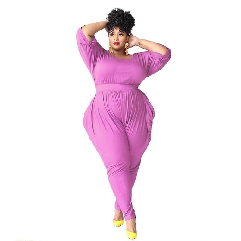 plus size red jumpsuit - purple color