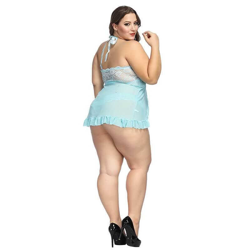 Plus Size  Large Lace Nightdress Sexy Underwear - blue back