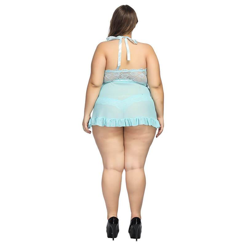 Plus Size  Large Lace Nightdress Sexy Underwear - blue behind