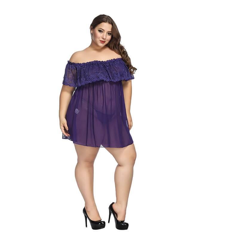 Plus Size Large Lace Pajamas One Shoulder Nightdress - purple  positive
