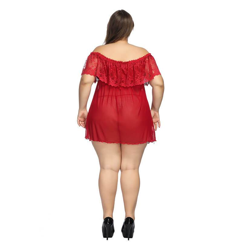 Plus Size Large Lace Pajamas One Shoulder Nightdress - red back