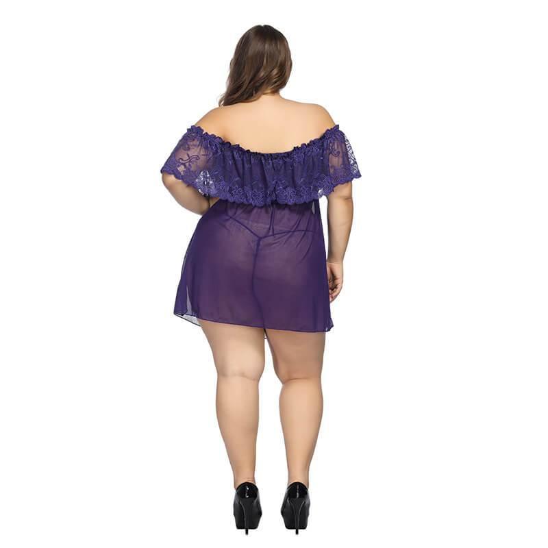 Plus Size Large Lace Pajamas One Shoulder Nightdress - purple back