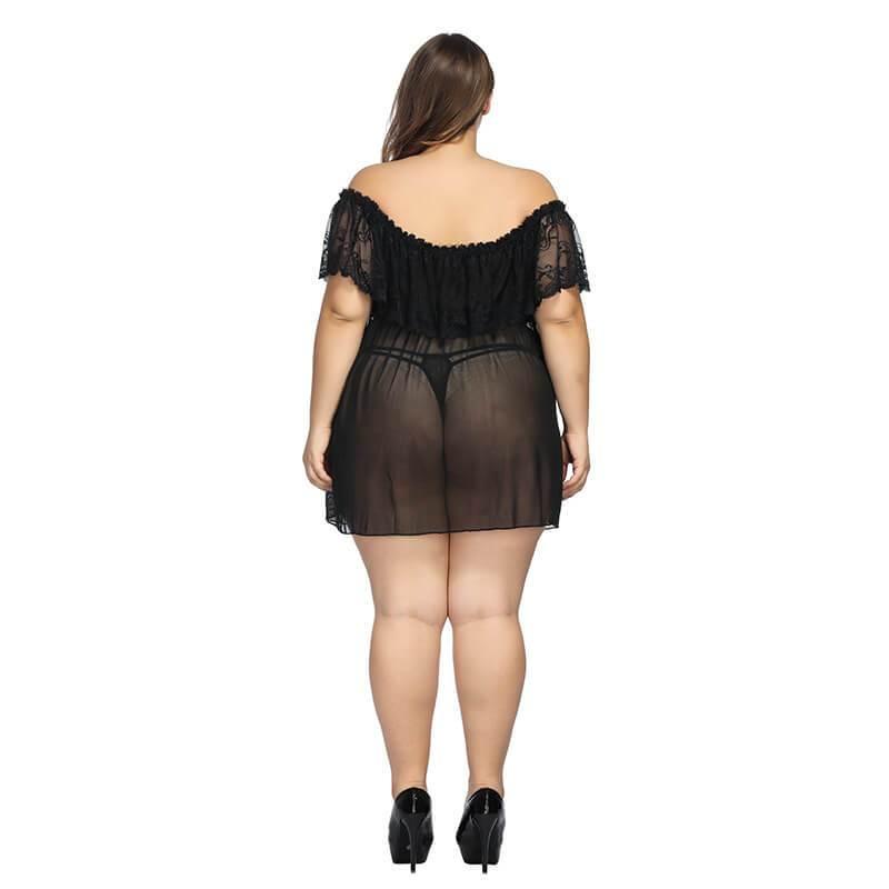 Plus Size Large Lace Pajamas One Shoulder Nightdress - black behind