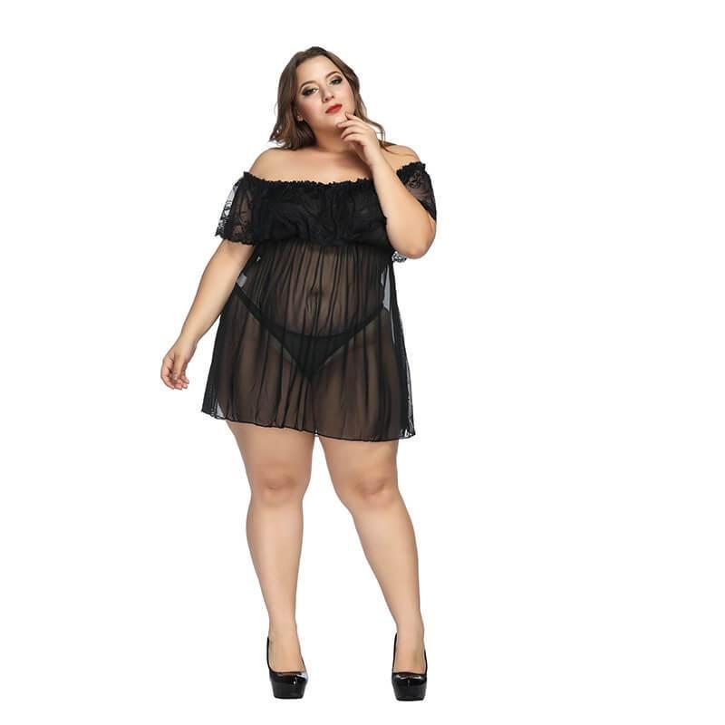 Plus Size Large Lace Pajamas One Shoulder Nightdress - black positive