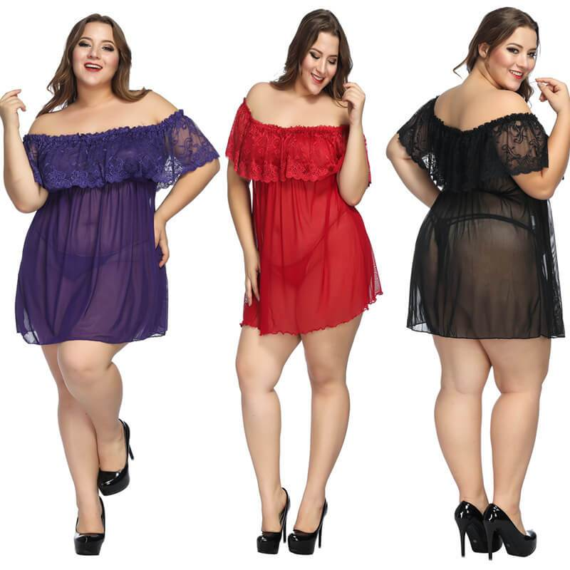 Plus Size Large Lace Pajamas One Shoulder Nightdress - main picture