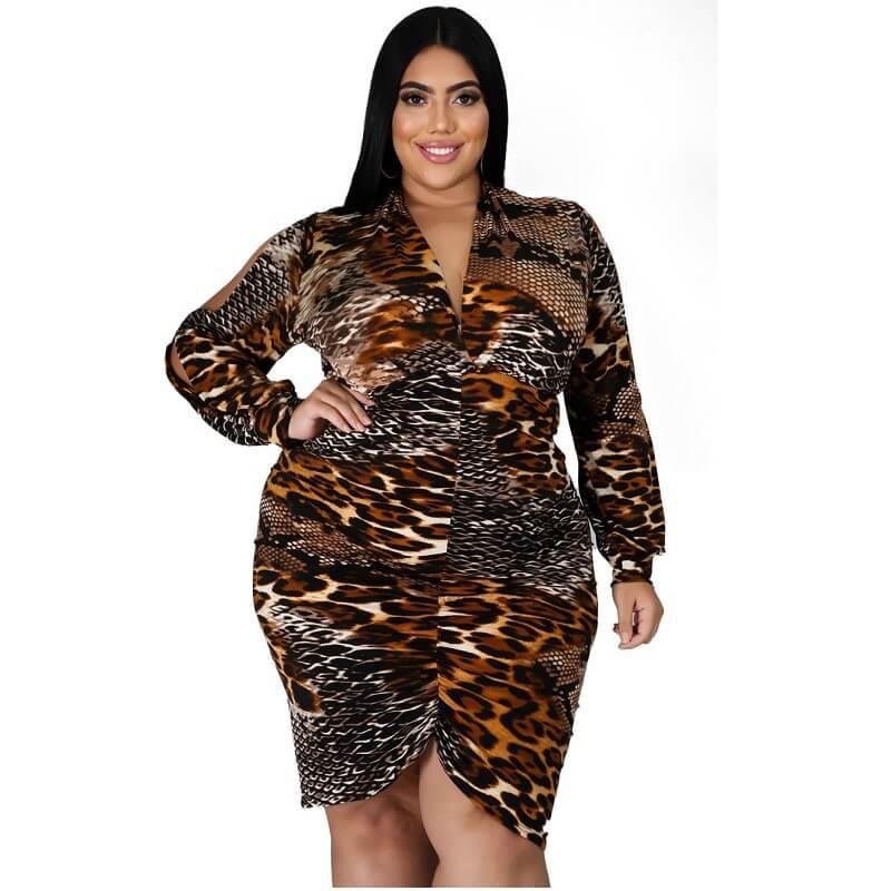 Large Size Snake Print Stitching Dress - snake pattern positive