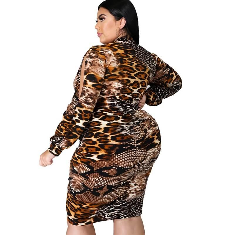Large Size Snake Print Stitching Dress - snake pattern side