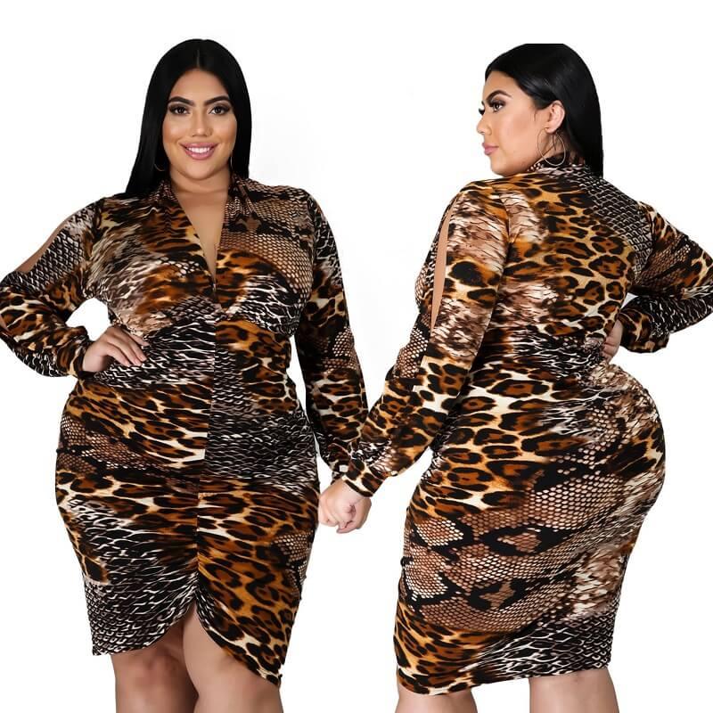 Large Size Snake Print Stitching Dress - snake pattern main picture