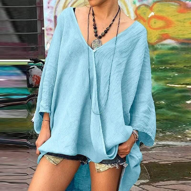 Plus Size Crop T Shirt - blue color