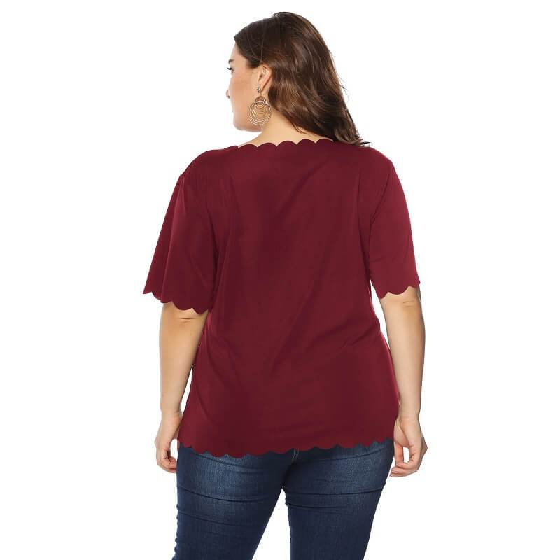 Plus Size Lips T Shirt - red back