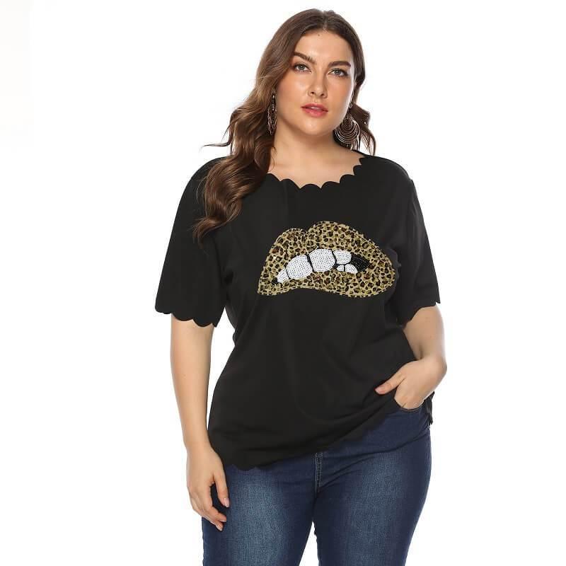 Plus Size Lips T Shirt - black color