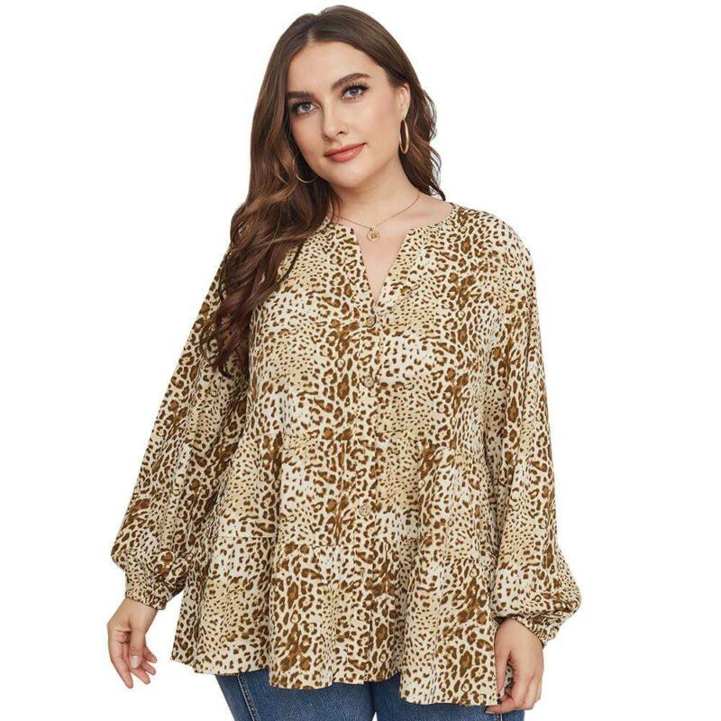 Leopard Blouse Plus Size -  apricot main picture