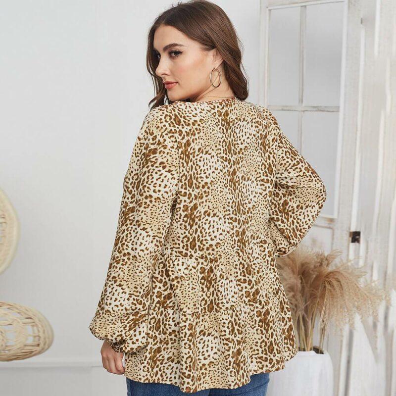 Leopard Blouse Plus Size -  apricot back