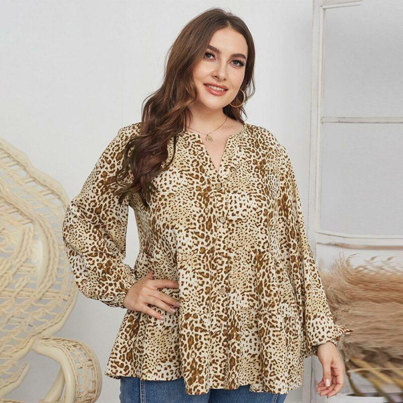 Leopard Blouse Plus Size -  apricot color