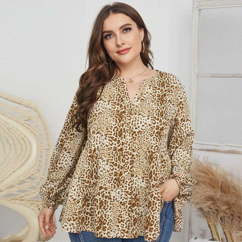 Leopard Blouse Plus Size -  apricot positive