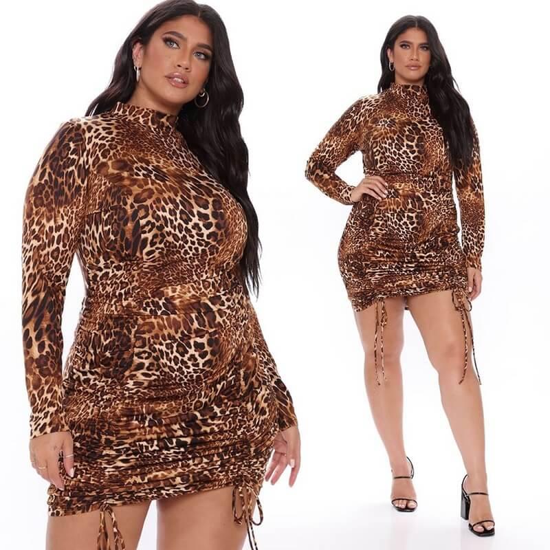 Plus Size Fringe Dress - brown main picture