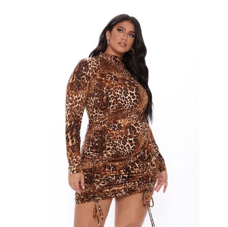 Plus Size Fringe Dress - brown positive