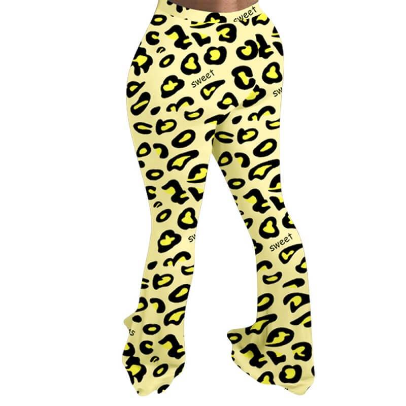 Plus Size Leopard Trousers - yellow back