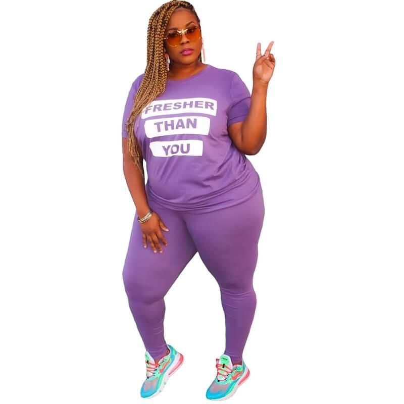 Plus Size Letter Suit - purple color