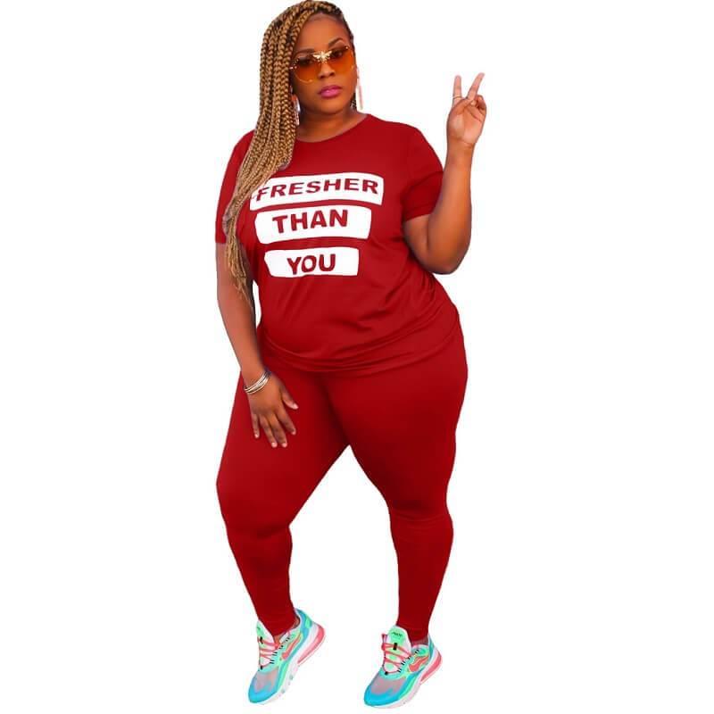 Plus Size Letter Suit - red color