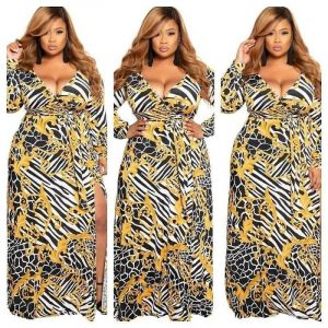 Plus Size Long-sleeved V-neck Dress - main picture