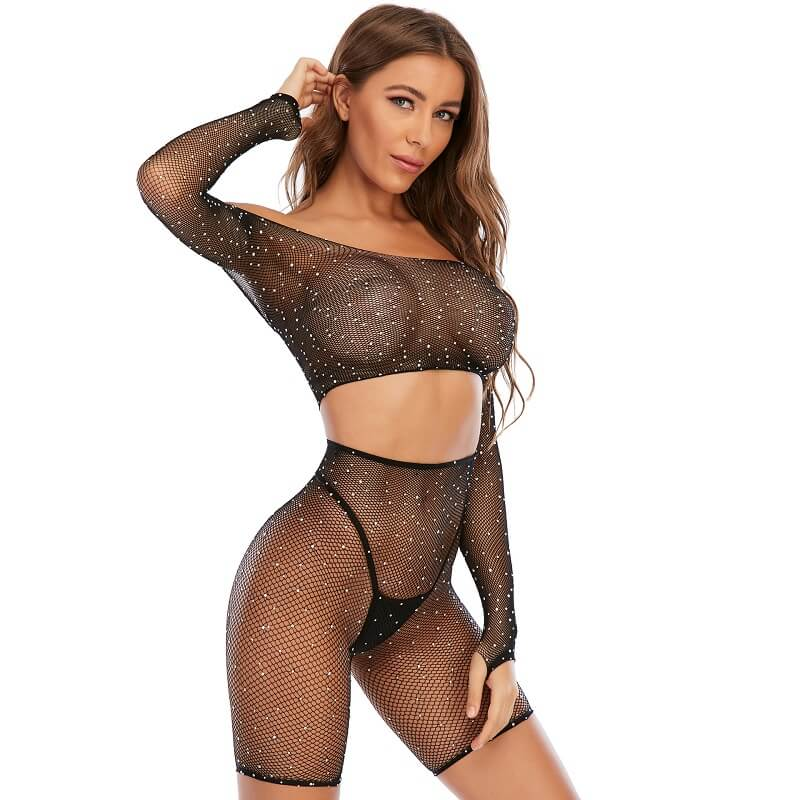 Long-sleeved Top Black Sexy Lingerie Sets