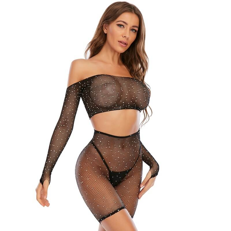 Black Sexy Lingerie Sets Model Righ View