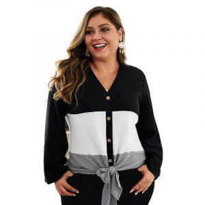 Plus Size Duster Sweater - black color