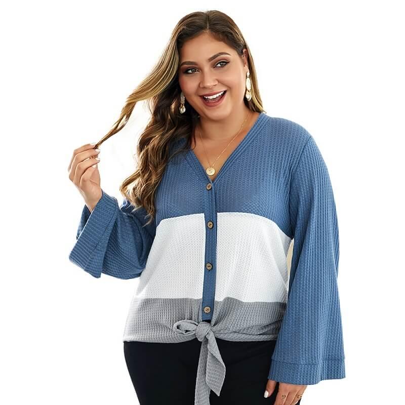 Plus Size Duster Sweater - blue color