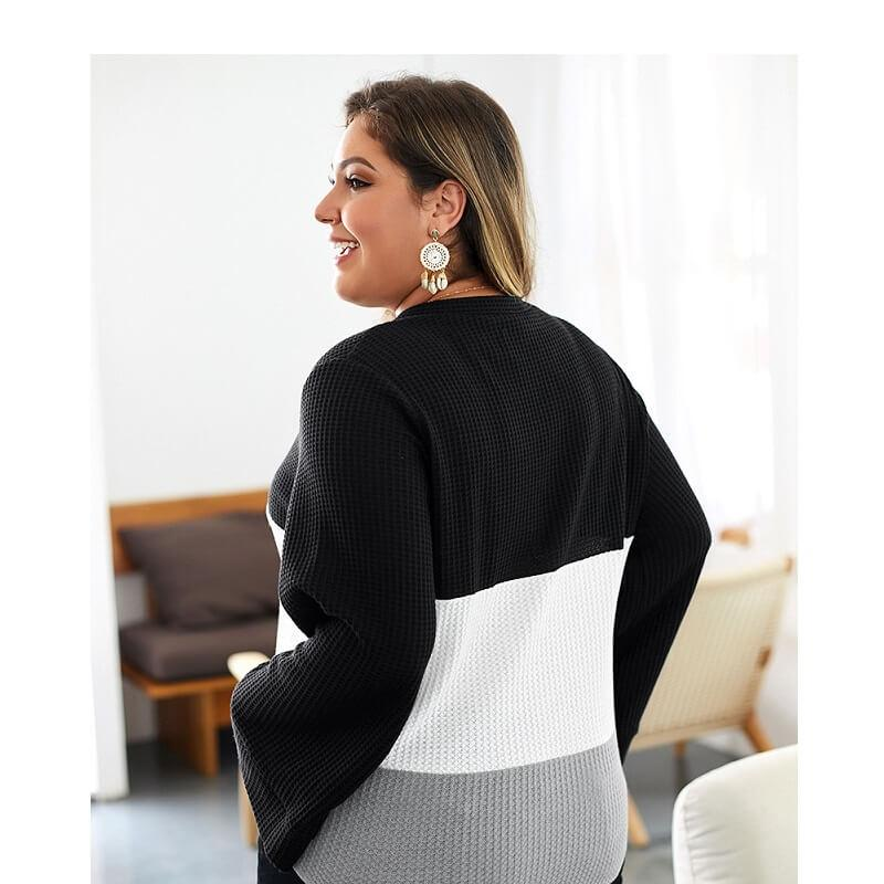 Plus Size Duster Sweater - black side