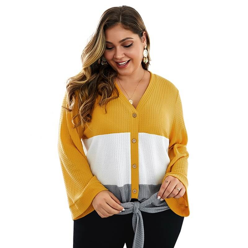 Plus Size Duster Sweater - yellow color